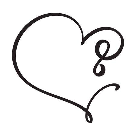 Vector Vintage floral monogram number eight 8. Calligraphy element Valentine flourish frame. Hand drawn heart sign for page decoration and design illustration. Love wedding card or invitation.