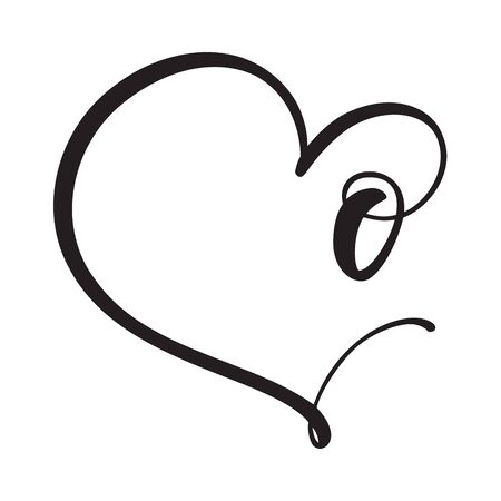 Vector Vintage floral monogram number zero 0. Calligraphy element Valentine flourish frame. Hand drawn heart sign for page decoration and design illustration. Love wedding card or invitation.