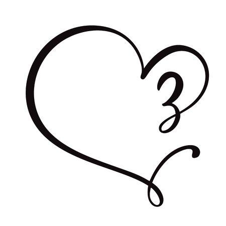 Vector Vintage floral monogram number three 3. Calligraphy element Valentine flourish frame. Hand drawn heart sign for page decoration and design illustration. Love wedding card or invitation. Çizim