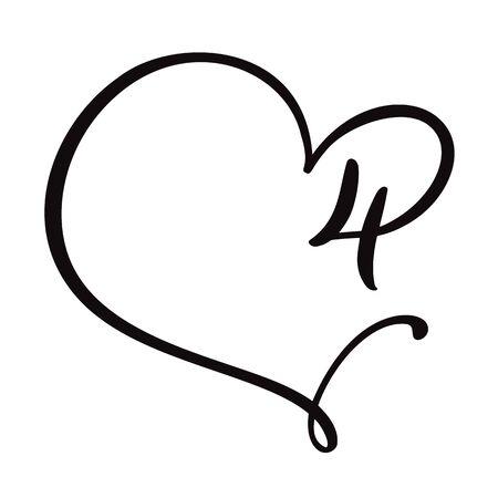 Vector Vintage floral monogram number four 4. Calligraphy element Valentine flourish frame. Hand drawn heart sign for page decoration and design illustration. Love wedding card or invitation.