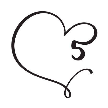 Vector Vintage floral monogram number five 5. Calligraphy element Valentine flourish frame. Hand drawn heart sign for page decoration and design illustration. Love wedding card or invitation.