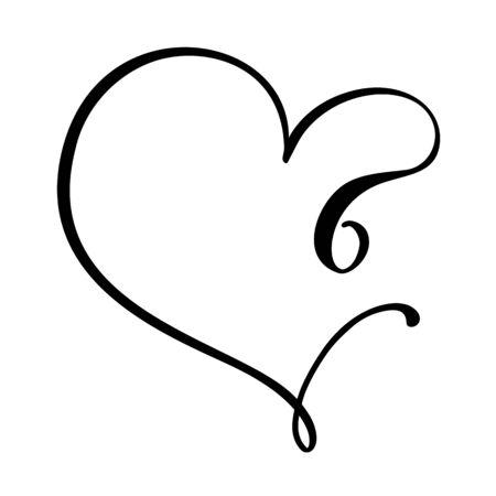Vector Vintage floral monogram number six 6. Calligraphy element Valentine flourish frame. Hand drawn heart sign for page decoration and design illustration. Love wedding card or invitation.