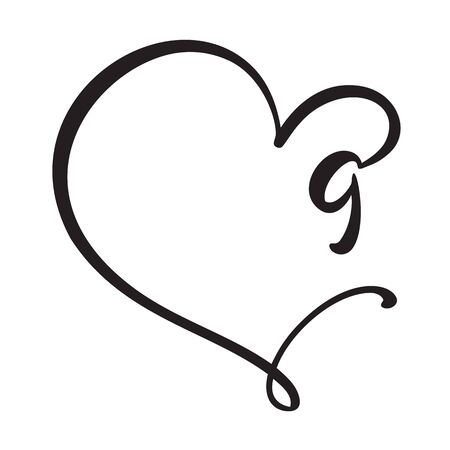 Vector Vintage floral monogram number nine 9. Calligraphy element Valentine flourish frame. Hand drawn heart sign for page decoration and design illustration. Love wedding card or invitation.