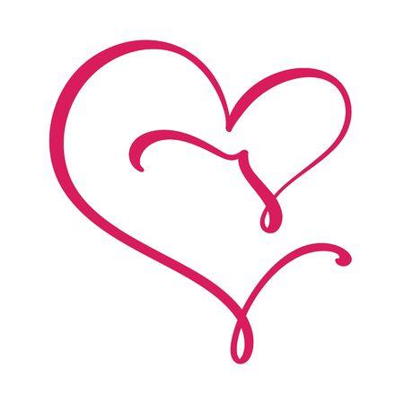Vector Vintage floral monogram letter V. Calligraphy element Valentine flourish frame. Hand drawn heart sign for page decoration and design illustration. Love wedding card or invitation. Çizim