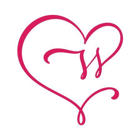Vector Vintage floral monogram letter W. Calligraphy element Valentine flourish frame. Hand drawn heart sign for page decoration and design illustration. Love wedding card or invitation. Çizim