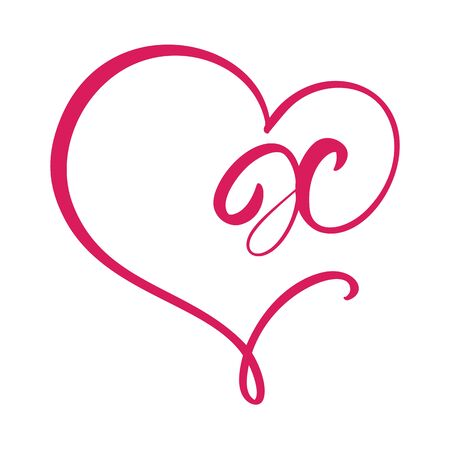 Vector Vintage floral monogram letter X. Calligraphy element Valentine flourish frame. Hand drawn heart sign for page decoration and design illustration. Love wedding card or invitation.