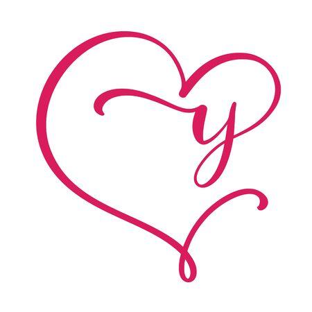 Vector Vintage floral monogram letter Y. Calligraphy element Valentine flourish frame. Hand drawn heart sign for page decoration and design illustration. Love wedding card or invitation.