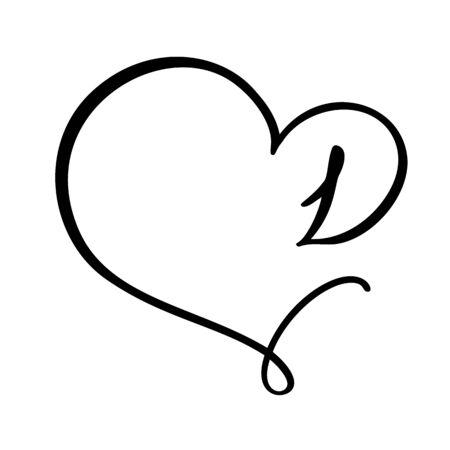 Vector Vintage floral monogram number 1 one. Calligraphy element Valentine flourish frame. Hand drawn heart sign for page decoration and design illustration. Love wedding card or invitation. Çizim