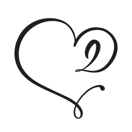Vector Vintage floral monogram number two 2. Calligraphy element Valentine flourish frame. Hand drawn heart sign for page decoration and design illustration. Love wedding card or invitation.