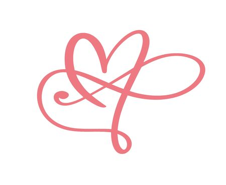 Heart love logo with Infinity sign. Design flourish element for valentine card. Vector illustration. Romantic symbol wedding. Template for t shirt, banner, poster