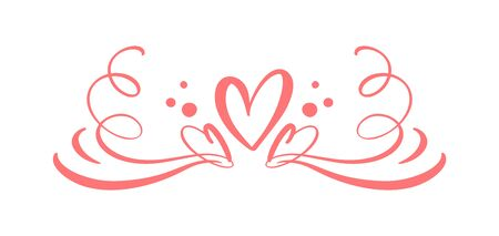 Heart love sign logo. Design flourish element valentine card for divider. Vector illustration. Infinity Romantic symbol wedding. Template for t shirt, card, poster. Ilustrace