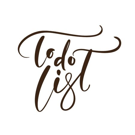 Handwritten lettering calligraphy vector text To do list. Business concept for meeting or organizer or planning notes. Can place your own phrase.