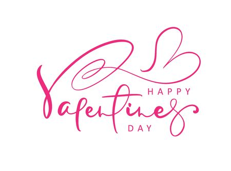 Happy Valentines Day red vector handwritten lettering text with heart. Holiday design letters to greeting card, poster, congratulate, calligraphy text illustration.