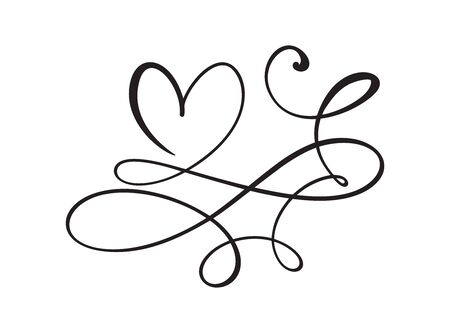 Heart love logo with Infinity sign. Design flourish element for valentine card. Vector illustration. Romantic symbol wedding. Template for t shirt, banner, poster.