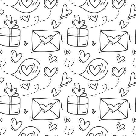 Cute monoline hand drawn heart seamless vector pattern with envelopes and gift boxes. Valentine poster. different heart elements. Wedding background