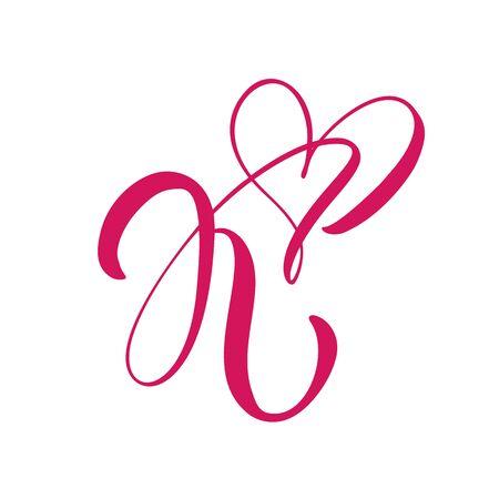 Vector Vintage floral monogram letter K. Calligraphy element heart Valentine card flourish frame. Hand drawn Love sign for page decoration and design illustration Ilustrace
