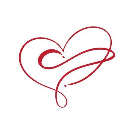 Heart love with Infinity sign. Design flourish element for valentine card. Vector illustration. Romantic symbol wedding. Template for t shirt, banner, poster Standard-Bild - 139634273