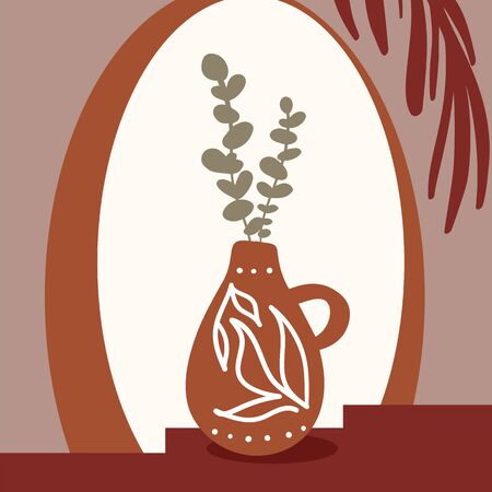 Eucalyptus branches in a dark bottle vase standing at bedside table opposite the mirror. White background. Vector illustration.
