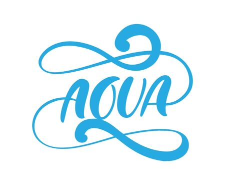 Blue vector Aqua text logo with water wave. Eco concept fresh clean drink water. For shop, web banner, poster Ilustração