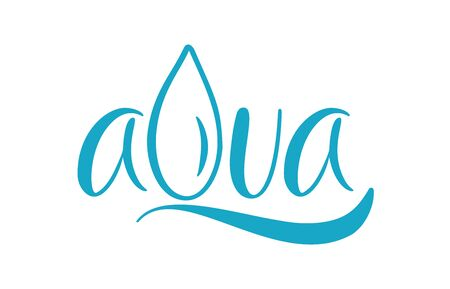 Blue vector Aqua text logo with water wave and drop. Eco concept fresh clean drink water. For shop, web banner, poster