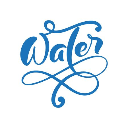 Blue flourish calligraphic vector Aqua text logo with water wave and drop. Eco concept fresh clean drink water. For shop, web banner, poster Ilustração