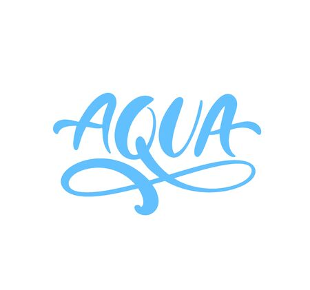 Blue vector Aqua text logo with water wave or infinity sign. Eco concept fresh clean drink water. For shop, web banner, poster