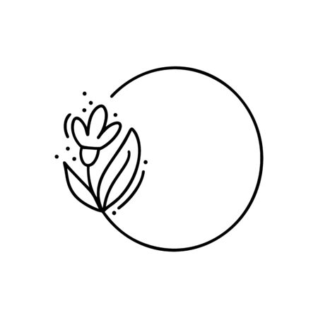 Hand drawn round minimalistic frame with branch. Vector floral design elements for invitation, greeting card, scrapbooking, poster with place for text. Vintage decor