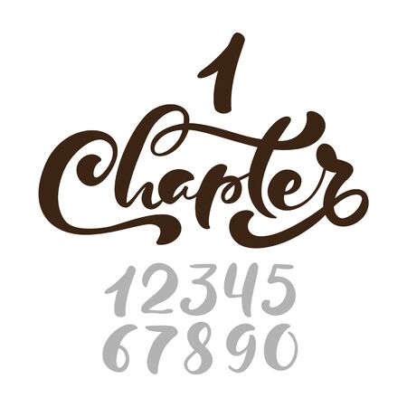 Text Chapter. One and other numbers. Calligraphy lettering hand drawn text. Flourish light vintage style for wedding, book, romantic or drama book. 写真素材 - 142304314