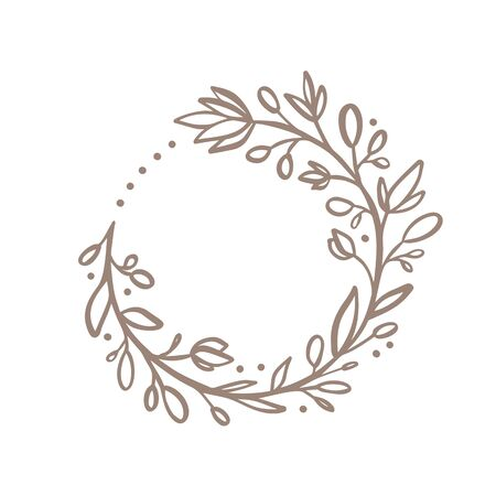 Hand drawn flower wreath logo. Vector floral design spring frame element for invitations, greeting cards, scrapbooking, posters with place for text. Vintage decor.