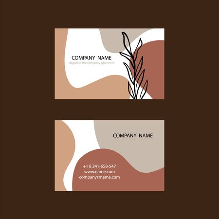 Creative and Clean Double sided Business Card Template. Orange and Brown Colors. Flat Design Vector Illustration. Stationery Design.