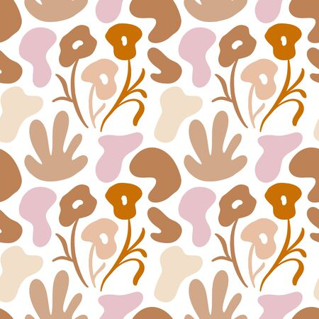 Seamless vector floral color pattern. Decorative vintage classic style with flowers and abstract shapes. For organic natural eco cosmetics or textile.