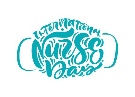Thank you turquoise lettering vector text in form of face mask. Illustration for International Nurse Day. Surgical procedure mask for doctors and people. Covid-19 outbreak. Vectores