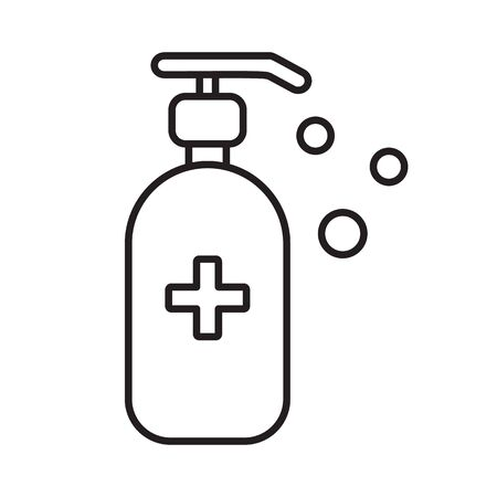 Antibacterial hand sanitizer, disinfection gel line icon, outline vector sign, linear style pictogram isolated on white.