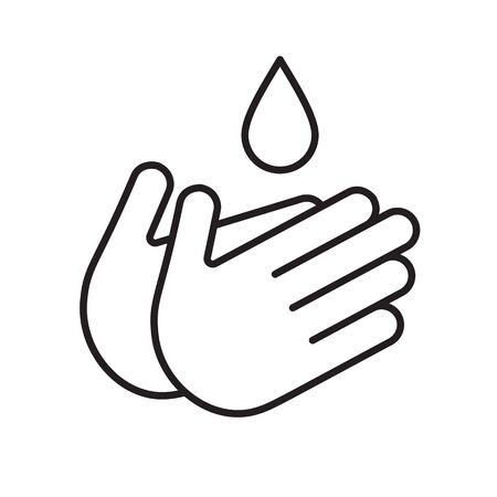 Hand and water drop line icon vector. Outline sign, linear style pictogram isolated on white.