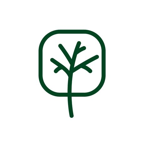 Tree line icon. Naturally beautiful symbol, wooden trunk and outline branches for map. Tree vector outline art illustration isolated on white background