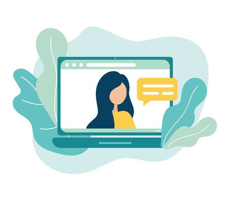 Online meeting via group call icon. Woman talking to friends, coleagues in video conference at office or home. Vector in flat style concept freelance, remote work, teleworking, Conference call, quarantine