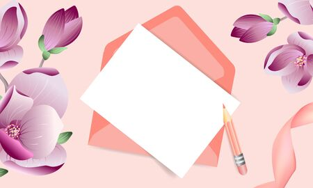 Mockup Vector floral pink greeting card with envelope and magnolia flowers with place for text. For wedding or invitation card