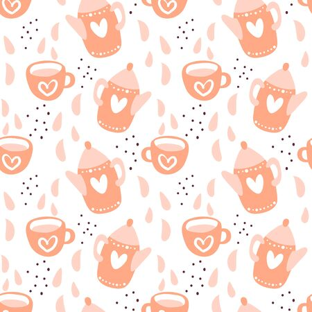 Tea time scandinavian seamless pattern. Tea party background design. Hand drawn doodle illustration with teapots, cups and sweets  イラスト・ベクター素材