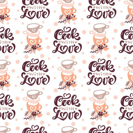 Seamless pattern with cooking tools and calligraphy text Cook with love. Backdrop with kitchen utensils for homemade meals preparation with flowers. Vector illustration in flat style for textile print, wrapping paper