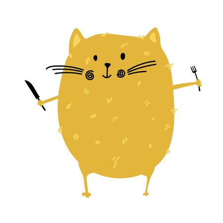 Fat cat with fork and knife in his hands for food blog kitchen. Fat cat stays before eating. Vector animal illustration in cartoon style for restaurant, cafe menu or banner, poster 일러스트