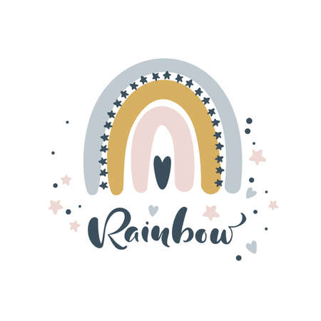 Rainbow calligraphy lettering text and illustration rainbow for social media content or kids greeting card. Cute scandinavian vector hand drawn design. Ilustrace
