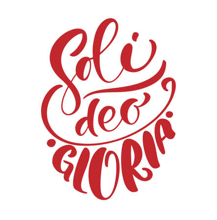 Christian vector calligraphy lettering text Soli Deo Gloria. Glory to God Alone on English. One of five points of the foundation of Protestant theology