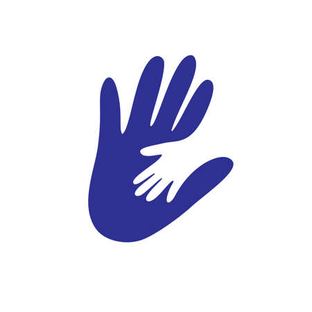 Parent and child s hand together . Concept vector graphic. This illustration shows the relationship between parent and children. The kid s hand is placed over the father or mother hand Vetores