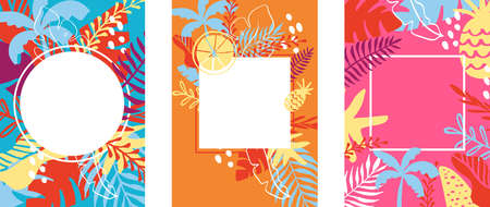 Summer card Holiday and Summer Camp poster with place for text. Traveling template poster, vector illustration. Colored party poster with palm leaves. Background with place for your text