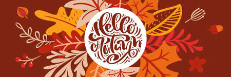 Greeting card with text Hello Autumn panoramic banner. Orange leaves of maple, september, october or november foliage, oak and birch tree, fall nature season banner design
