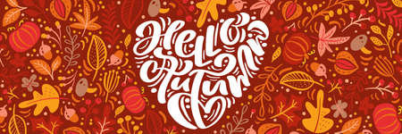 Greeting card with text Hello Autumn in form of heart. Panoramic banner orange leaves of maple, september, october or november foliage, oak and birch tree, fall nature season poster design