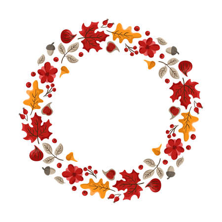 Vector autumn frame round wreath with place for text. With leaves, acorts and berries for Happy Thanksgiving Day. Template illustration for print, greeting card, mugs. Fall concept Vector Illustratie