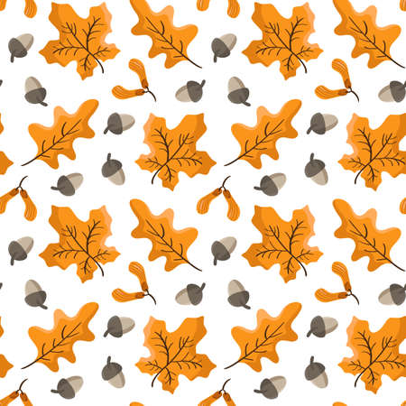 Seamless vector pattern with autumn leaves and acorns. Beautiful background for Thanksgiving Day, wallpaper, children textile