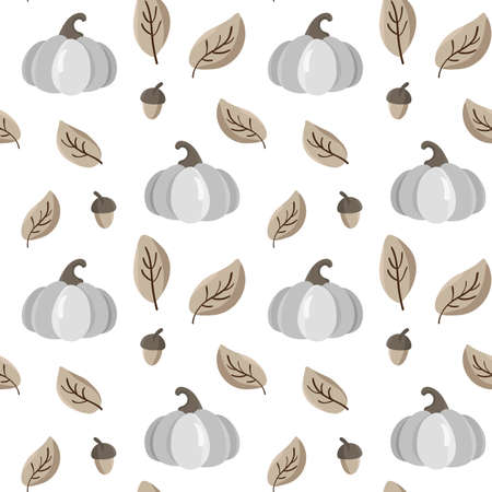 Autumn seamless vector pattern with pumpkins, leaves and acorn. Beautiful background for Thanksgiving Day, wallpaper, children textile Stock fotó - 155445404
