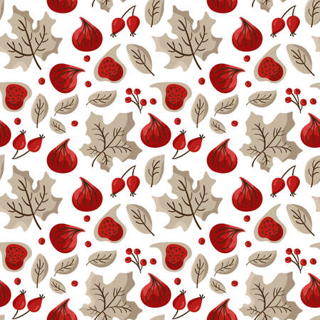 Autumn vector seamless pattern of fruits figs, berries, and maple leaves. Abstract background Thanksgiving Day, texture illustration for children textile, wallpaper